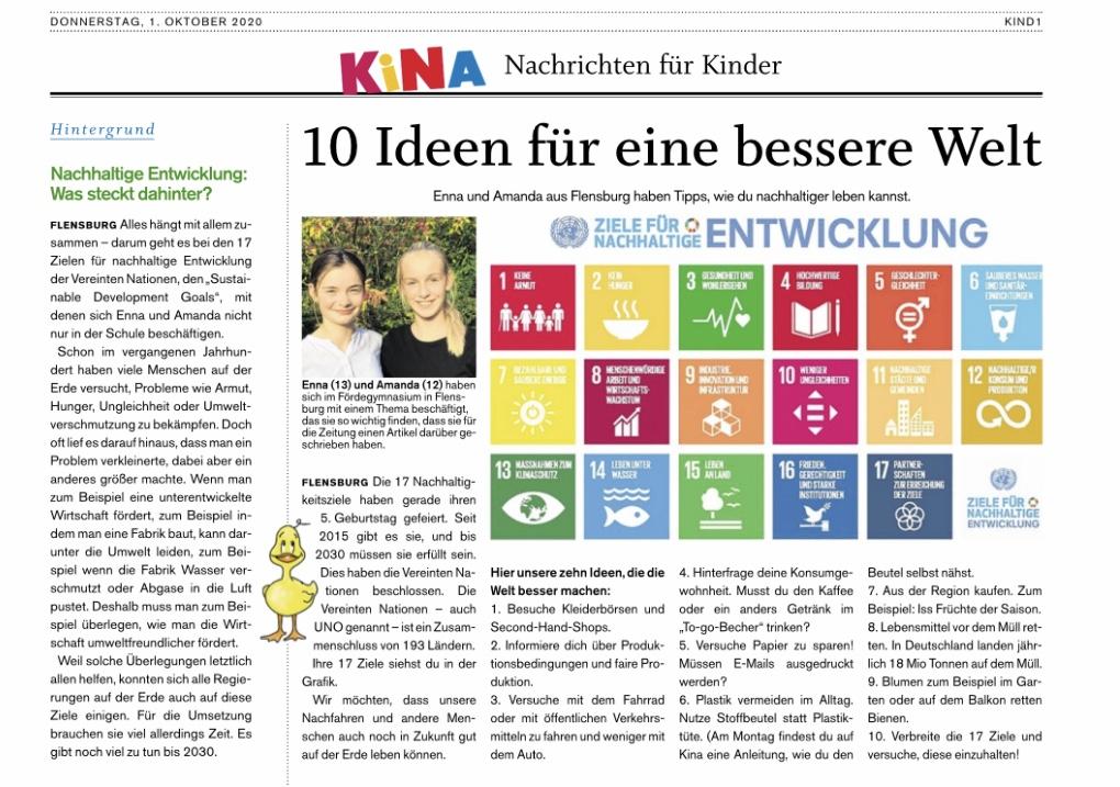 Projekt der 7b zum 5. Geburtstag der SDG